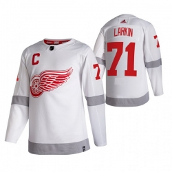 Men Detroit Red Wings 71 Dylan Larkin White Adidas 2020 21 Reverse Retro Alternate NHL Jersey