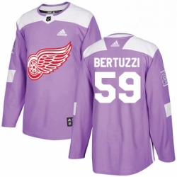 Mens Adidas Detroit Red Wings 59 Tyler Bertuzzi Authentic Purple Fights Cancer Practice NHL Jersey