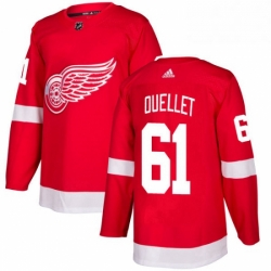 Mens Adidas Detroit Red Wings 61 Xavier Ouellet Authentic Red Home NHL Jersey