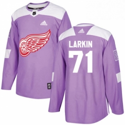 Mens Adidas Detroit Red Wings 71 Dylan Larkin Authentic Purple Fights Cancer Practice NHL Jersey