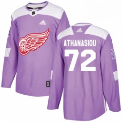 Mens Adidas Detroit Red Wings 72 Andreas Athanasiou Authentic Purple Fights Cancer Practice NHL Jersey