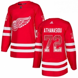 Mens Adidas Detroit Red Wings 72 Andreas Athanasiou Authentic Red Drift Fashion NHL Jersey