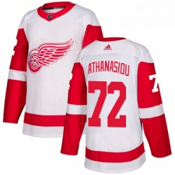 Mens Adidas Detroit Red Wings 72 Andreas Athanasiou Authentic White Away NHL Jersey