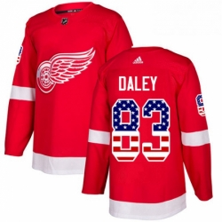 Mens Adidas Detroit Red Wings 83 Trevor Daley Authentic Red USA Flag Fashion NHL Jersey