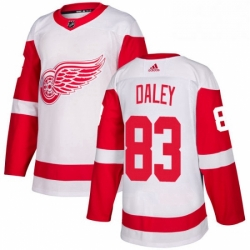 Mens Adidas Detroit Red Wings 83 Trevor Daley Authentic White Away NHL Jersey