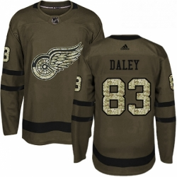 Mens Adidas Detroit Red Wings 83 Trevor Daley Premier Green Salute to Service NHL Jersey