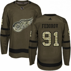 Mens Adidas Detroit Red Wings 91 Sergei Fedorov Authentic Green Salute to Service NHL Jersey