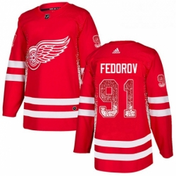 Mens Adidas Detroit Red Wings 91 Sergei Fedorov Authentic Red Drift Fashion NHL Jersey
