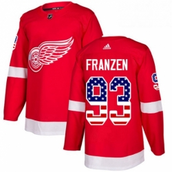 Mens Adidas Detroit Red Wings 93 Johan Franzen Authentic Red USA Flag Fashion NHL Jersey
