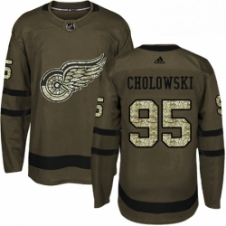 Mens Adidas Detroit Red Wings 95 Dennis Cholowski Authentic Green Salute to Service NHL Jersey