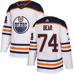 Men Edmonton Oilers 74 Ethan Bear White Adidas Jersey