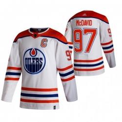 Men Edmonton Oilers 97 Connor McDavid White Adidas 2020 21 Reverse Retro Alternate NHL Jersey