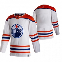 Men Edmonton Oilers Blank White Adidas 2020 21 Reverse Retro Alternate NHL Jersey