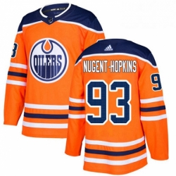 Mens Adidas Edmonton Oilers 93 Ryan Nugent Hopkins Premier Orange Home NHL Jersey