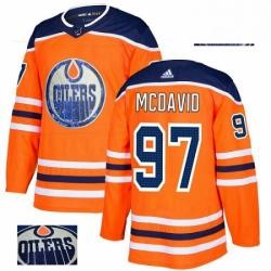 Mens Adidas Edmonton Oilers 97 Connor McDavid Authentic Orange Fashion Gold NHL Jersey