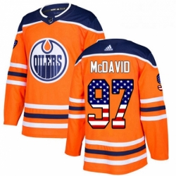 Mens Adidas Edmonton Oilers 97 Connor McDavid Authentic Orange USA Flag Fashion NHL Jersey