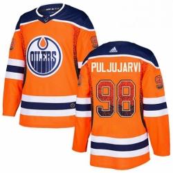 Mens Adidas Edmonton Oilers 98 Jesse Puljujarvi Authentic Orange Drift Fashion NHL Jersey