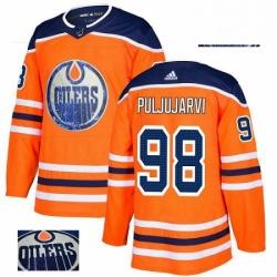 Mens Adidas Edmonton Oilers 98 Jesse Puljujarvi Authentic Orange Fashion Gold NHL Jersey
