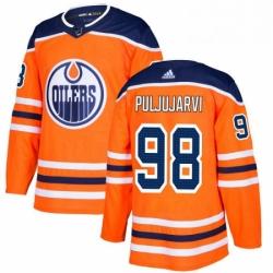 Mens Adidas Edmonton Oilers 98 Jesse Puljujarvi Authentic Orange Home NHL Jersey