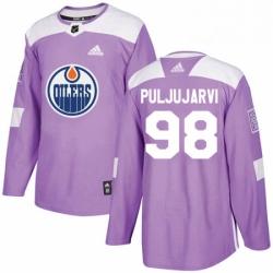 Mens Adidas Edmonton Oilers 98 Jesse Puljujarvi Authentic Purple Fights Cancer Practice NHL Jersey