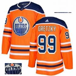 Mens Adidas Edmonton Oilers 99 Wayne Gretzky Authentic Orange Fashion Gold NHL Jersey