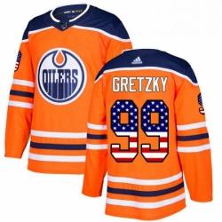 Mens Adidas Edmonton Oilers 99 Wayne Gretzky Authentic Orange USA Flag Fashion NHL Jersey