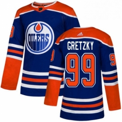 Mens Adidas Edmonton Oilers 99 Wayne Gretzky Premier Royal Blue Alternate NHL Jersey