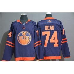 Oilers 74 Ethan Bear Navy Adidas Jersey
