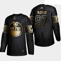 Oilers 97 Connor McDavid Black Gold Adidas Jersey