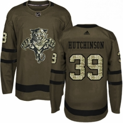 Mens Adidas Florida Panthers 39 Michael Hutchinson Premier Green Salute to Service NHL Jersey