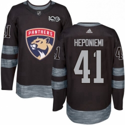 Mens Adidas Florida Panthers 41 Aleksi Heponiemi Authentic Black 1917 2017 100th Anniversary NHL Jersey