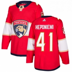 Mens Adidas Florida Panthers 41 Aleksi Heponiemi Authentic Red Home NHL Jersey