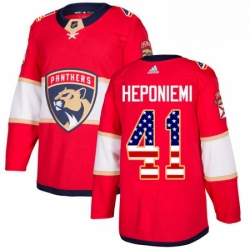 Mens Adidas Florida Panthers 41 Aleksi Heponiemi Authentic Red USA Flag Fashion NHL Jersey