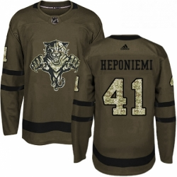Mens Adidas Florida Panthers 41 Aleksi Heponiemi Premier Green Salute to Service NHL Jersey