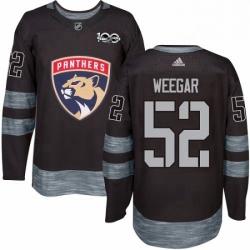 Mens Adidas Florida Panthers 52 MacKenzie Weegar Authentic Black 1917 2017 100th Anniversary NHL Jersey