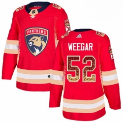 Mens Adidas Florida Panthers 52 MacKenzie Weegar Authentic Red Drift Fashion NHL Jersey