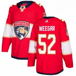 Mens Adidas Florida Panthers 52 MacKenzie Weegar Authentic Red Home NHL Jersey
