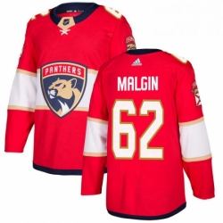 Mens Adidas Florida Panthers 62 Denis Malgin Authentic Red Home NHL Jersey