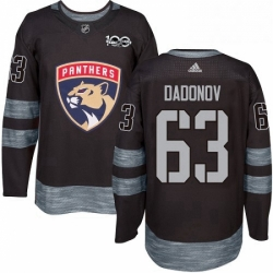 Mens Adidas Florida Panthers 63 Evgenii Dadonov Authentic Black 1917 2017 100th Anniversary NHL Jersey