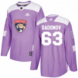 Mens Adidas Florida Panthers 63 Evgenii Dadonov Authentic Purple Fights Cancer Practice NHL Jersey