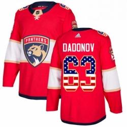 Mens Adidas Florida Panthers 63 Evgenii Dadonov Authentic Red USA Flag Fashion NHL Jersey