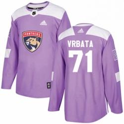 Mens Adidas Florida Panthers 71 Radim Vrbata Authentic Purple Fights Cancer Practice NHL Jersey
