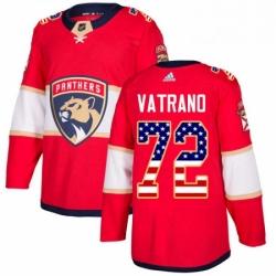 Mens Adidas Florida Panthers 72 Frank Vatrano Authentic Red USA Flag Fashion NHL Jersey