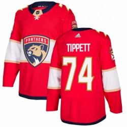 Mens Adidas Florida Panthers 74 Owen Tippett Authentic Red Home NHL Jersey
