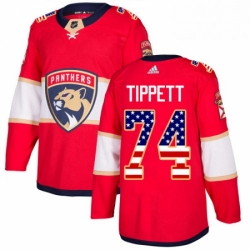 Mens Adidas Florida Panthers 74 Owen Tippett Authentic Red USA Flag Fashion NHL Jersey