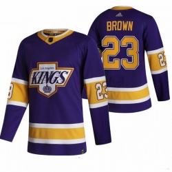 Men Los Angeles Kings 23 Dustin Brown Black Adidas 2020 21 Reverse Retro Alternate NHL Jersey