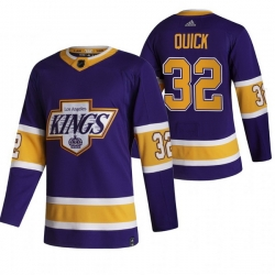 Men Los Angeles Kings 32 Jonathan Quick Black Adidas 2020 21 Reverse Retro Alternate NHL Jersey