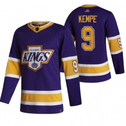 Men Los Angeles Kings 9 Adrian Kempe Black Adidas 2020 21 Reverse Retro Alternate NHL Jersey