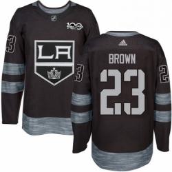 Mens Adidas Los Angeles Kings 23 Dustin Brown Premier Black 1917 2017 100th Anniversary NHL Jersey