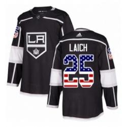 Mens Adidas Los Angeles Kings 25 Brooks Laich Authentic Black USA Flag Fashion NHL Jersey